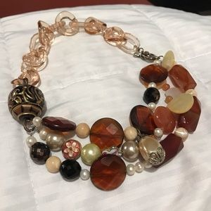 Acrylic, glass, carnelian, and pearl necklace
